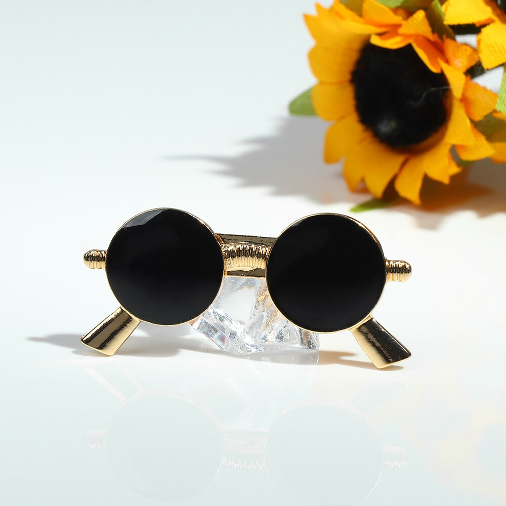 Cute Cartoon Black Glasses Brooch Pin for Men Women Fashion Enamel Pin Suit Dress Shirt Collar Lapel Pins broche bijoux