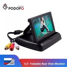"""Складной автомобильный монитор заднего вида Podofo 4,3 """"HD, цветной ЖК-дисплей TFT для камеры заднего вида"""
