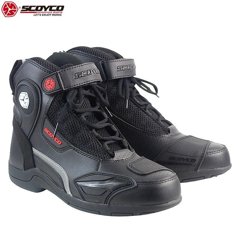 Botas de velocidad para motocicleta SCOYCO, botas de seguridad antideslizantes transpirables a prueba de golpes, botas de montar por encima del tobillo, calzado de protección para motociclistas