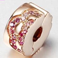 2020 new 925 sterling silver bead rose gold fan clamp fit pan women bracelet necklace diy jewelry