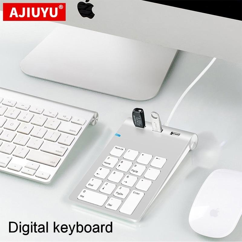 AJIUYU USB teclado numérico 18 con tres llaves USB Hub para iMac MacBook Air Pro Lenovo PC número contador mini teclado