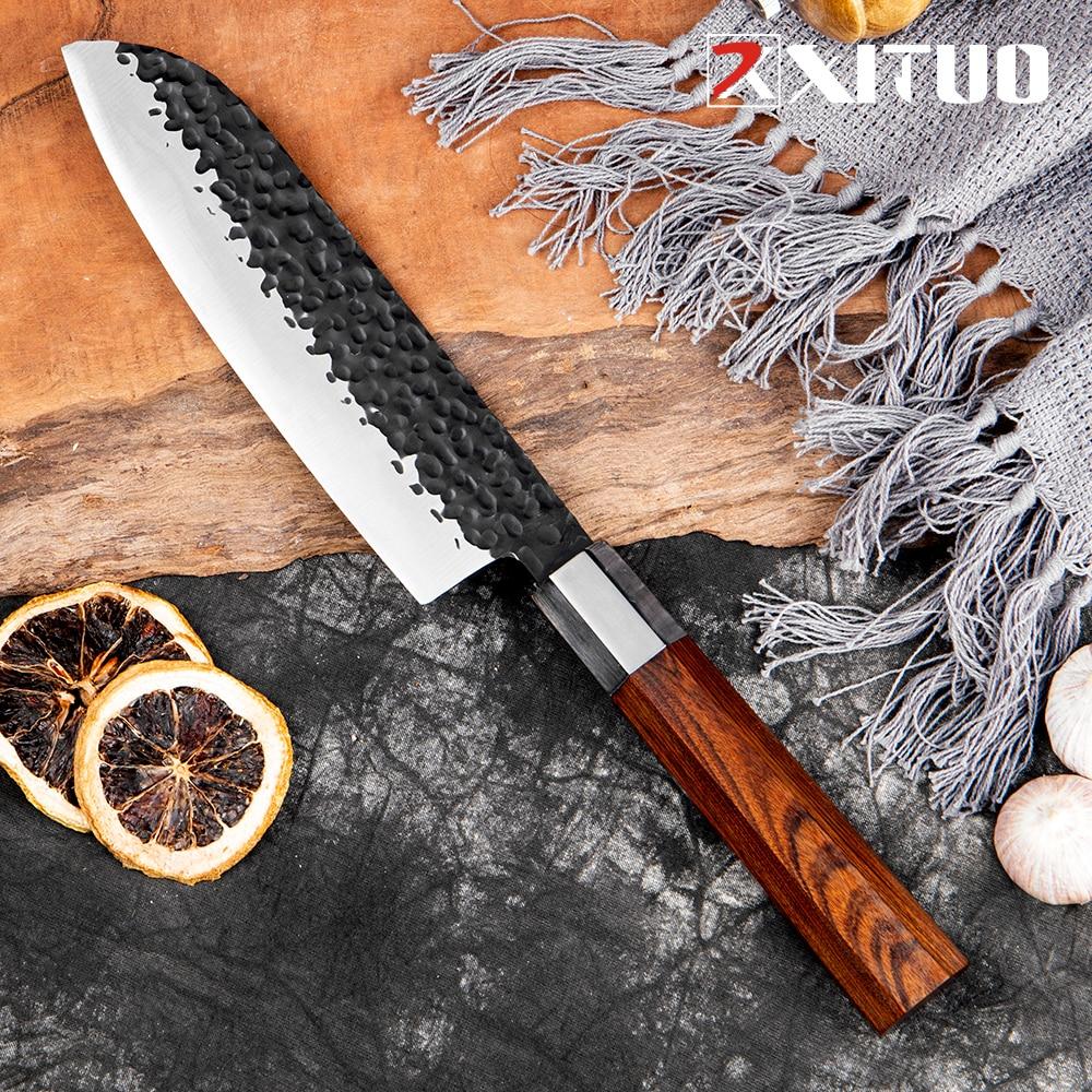 XITUO 7 بوصة اليد مزورة سكّين من نوع Santoku اليدوية اليابانية عالية الكربون الصلب سكين الطاهي اللحوم الساطور شفرة شارب سكاكين المطبخ