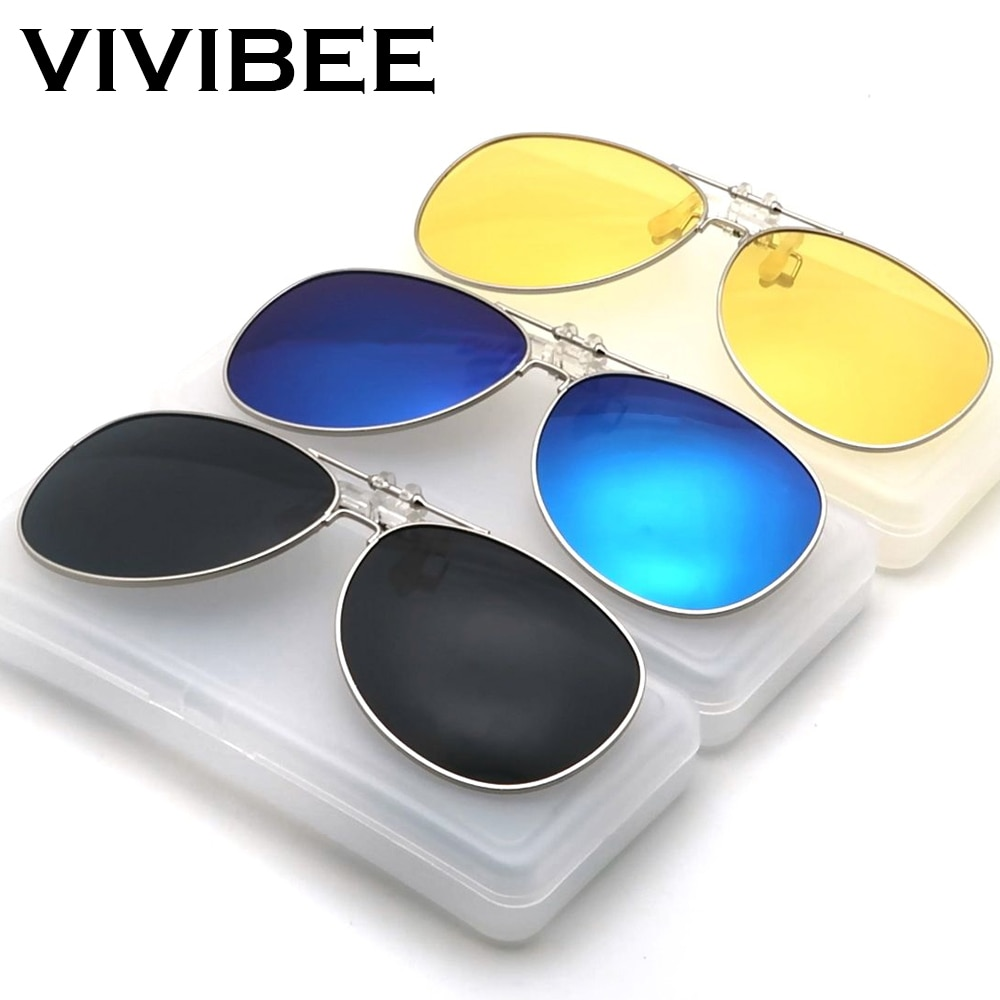 VIVIBE Oversized Pilot Flip Up Clip on Sunglasses Men Driving Alloy Frame Big Size Women Aviation Gl