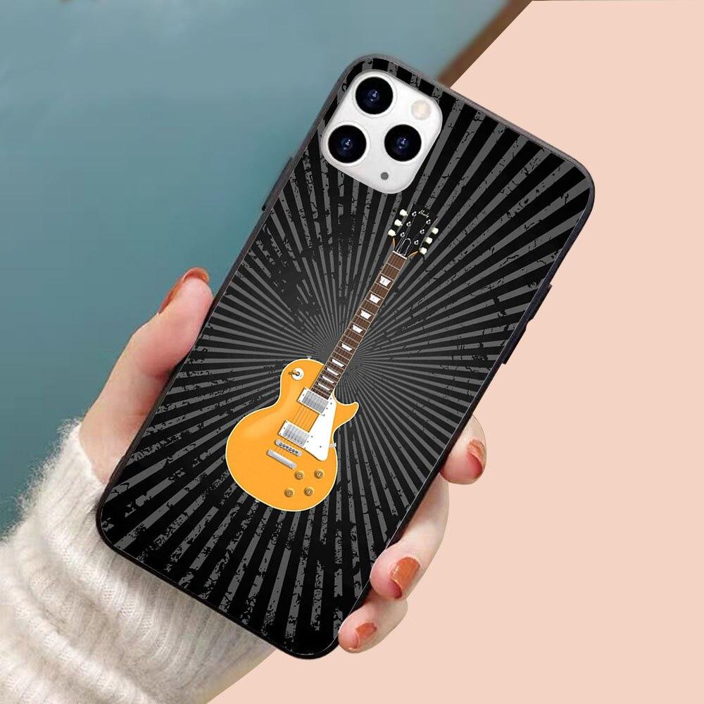 Funda de teléfono con borde de TPU blando para guitarra eléctrica dorada para iphone 11PRO 11PROMAX 11 X XS XR XSMAX 6 plus 7 7plus 8plus