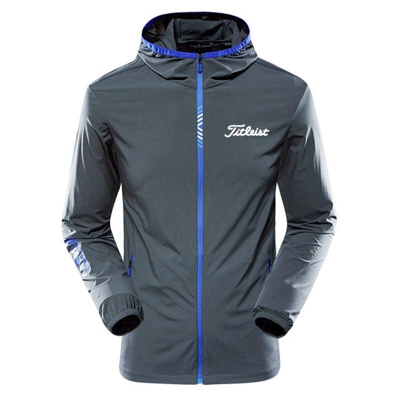 Мужская ветровка с капюшоном, темно-синяя Повседневная куртка-бомбер на молнии, одежда для гольфа, осень 2021