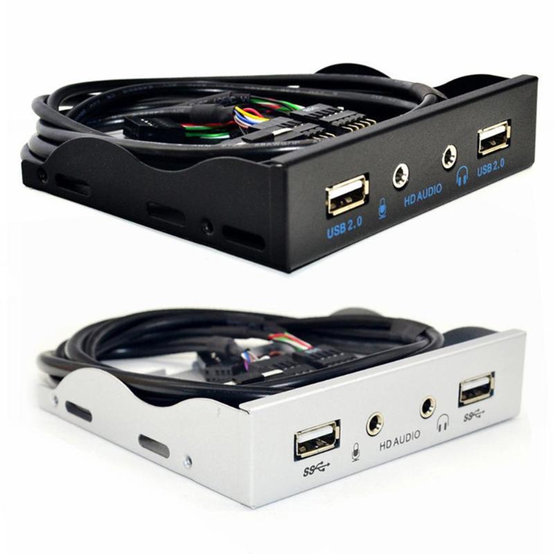 3,5 дюйма 9 pin к 2 USB 2,0 порт концентратор сплиттер Floppy Bay HD аудио 3,5 мм разъем для наушников расширение Передняя панель стойка для компьютера ПК