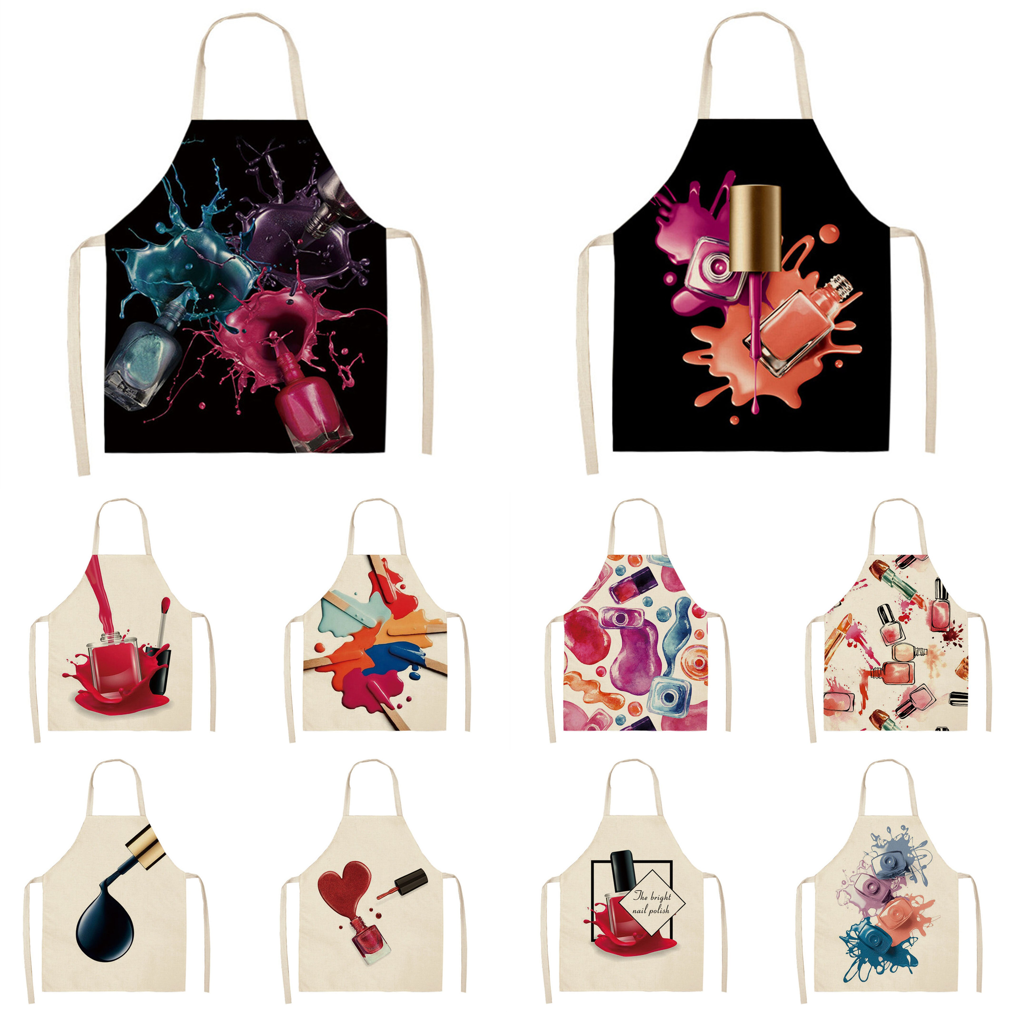 Kitchen Women Apron Color Nail polish bottle Printed Linen Adult Childs leeveless Aprons 53x65cm Wat
