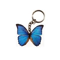 blue butterfly acrylic keychain flying wing dogs steel keyring pendants gift best friend key chain accessories keyring men toy