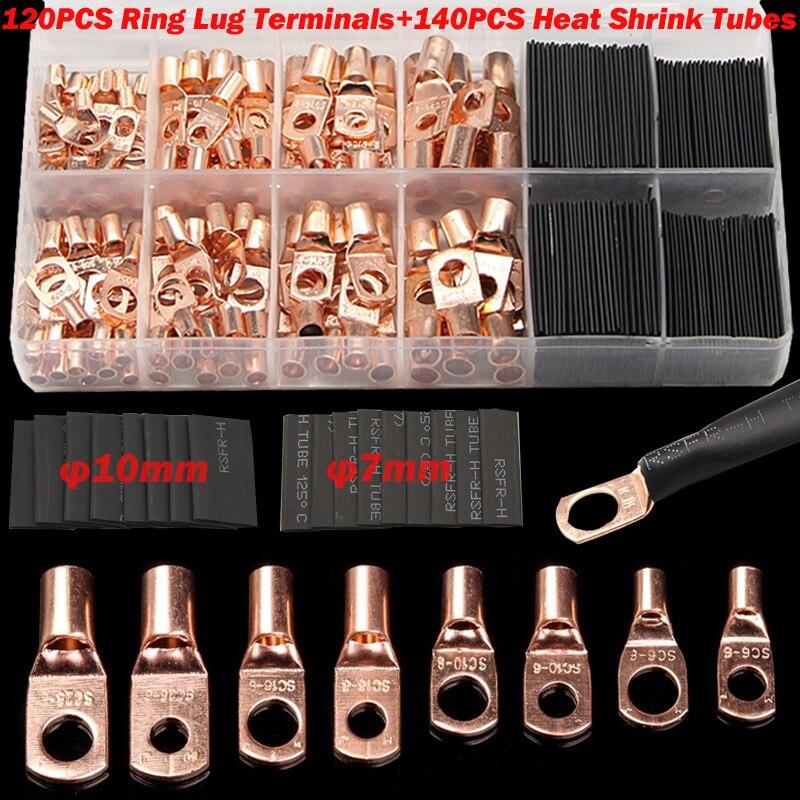 Juego surtido de terminales de batería de Cable pelado 60/260CPS, Conector de crimpado de Cable de Terminal de anillo de cobre automático para coche