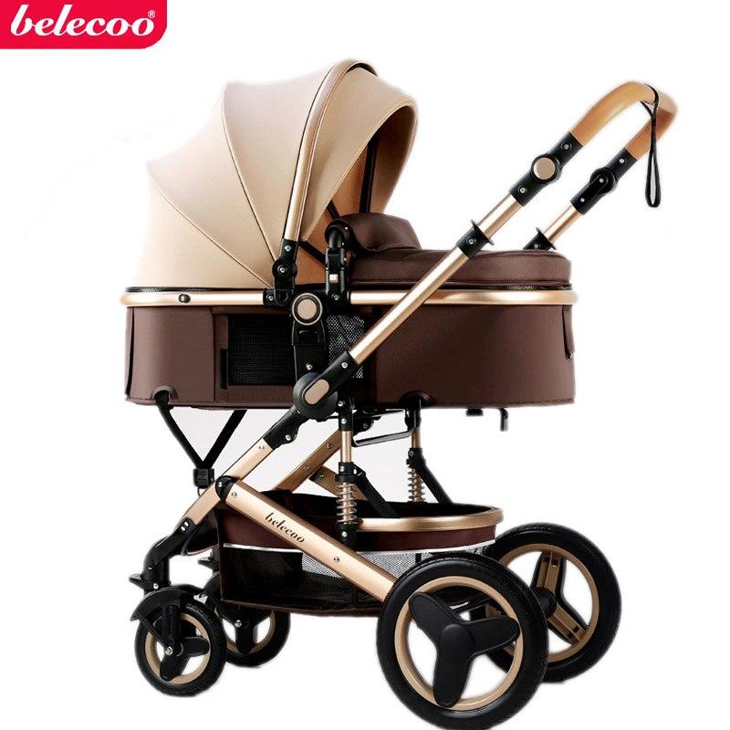 Belecoo-عربة أطفال بأربع عجلات مستلقية ، قابلة للطي ، ذات مناظر طبيعية عالية ، ممتص للصدمات ، شحن مجاني