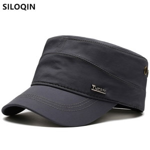 SILOQIN Snapback Cap Men's Flat Cap Army Military Hats 2021 New Spring Autumn Fashion Sports Cap Adjustable Size Men Tongue Caps