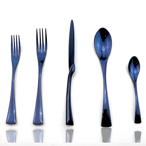 20 pçs/set Azul Elegante Faqueiro Colorido Conjunto Utensílio Substituir 18/10 Jubileu de Aço Inoxidável Polido Espelho Preto Serrilhada