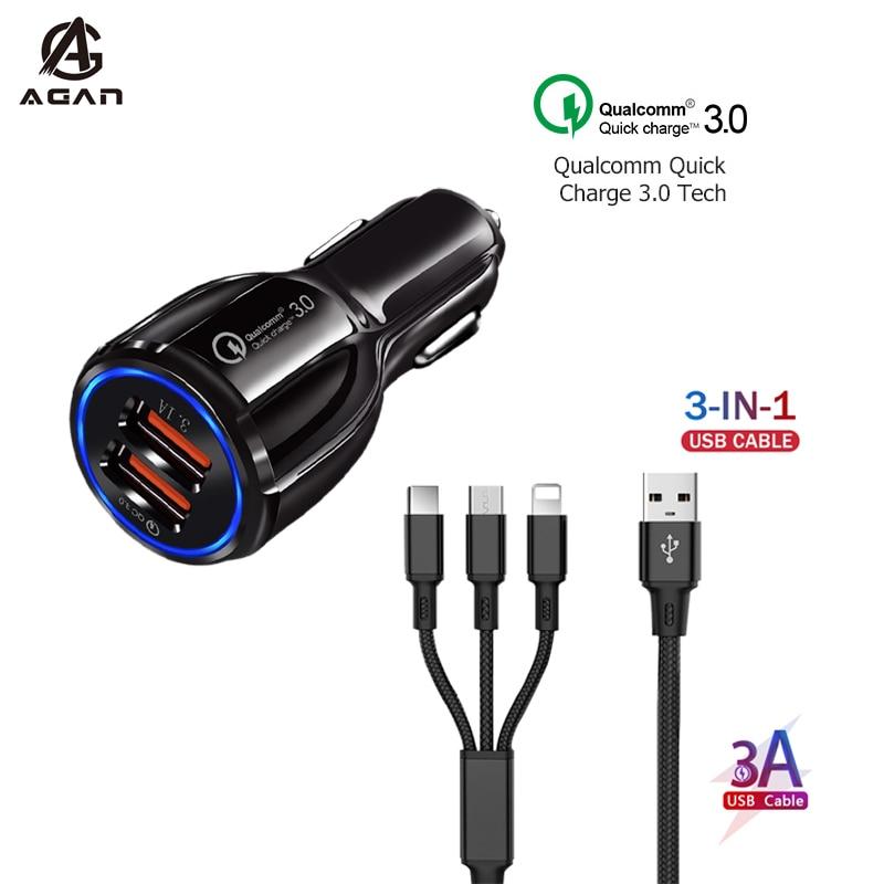 3 in 1 Schnelle Lade Kabel Für Honor Ansicht 30 20 10 9A 9C 9S 9X 10i 20e 20s 8S 8X 8A Pro Dual USB Port QC 3,0 Auto Ladegerät Adapter