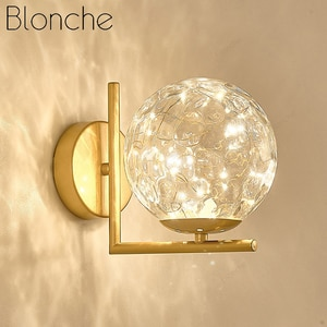 Modern Creative Romantic Starry Sky Led Wall Lamp Black Gold Decoration Bedside Staircase Study Corridor Simple Glass Wall Lamp