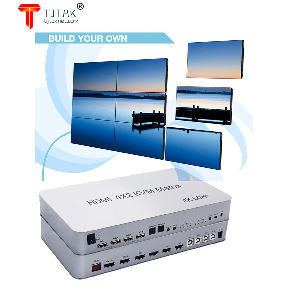 4X2 HDMI-KVKVM Matrix Switch 4 Porto Duplo Monitor Estendido 4K @60Hz Suporta USB2.0 Dispositivos de Controle ATE 4 computadore