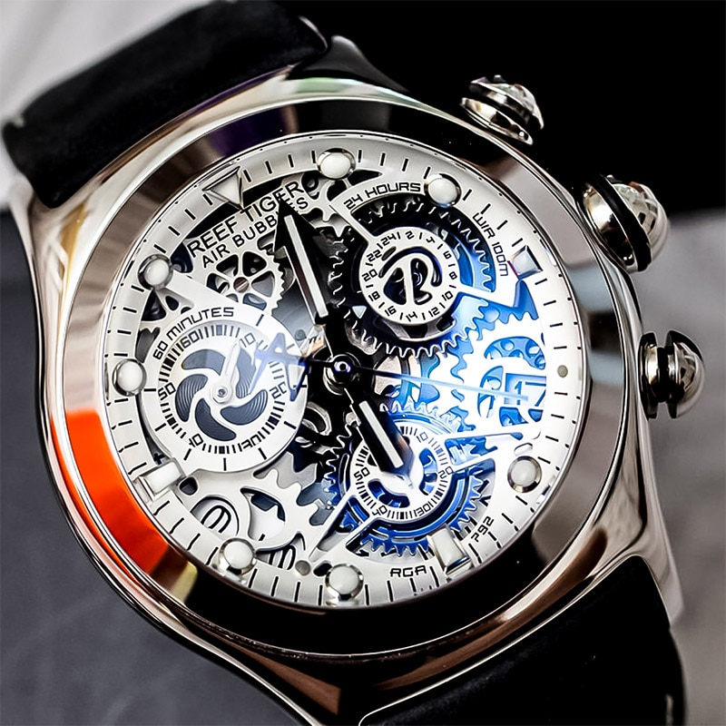 Reef Tiger/RT Mens Sport Watches with Chronograph Skeleton Dial Date Three Counters Steel Watch RGA7