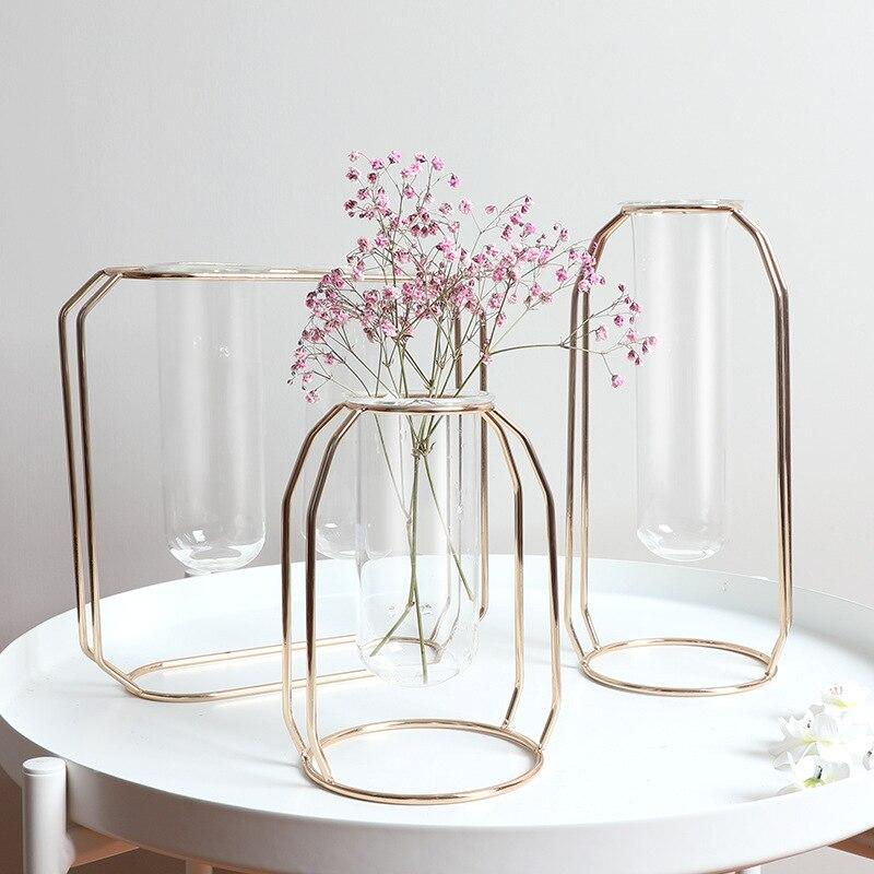 Soporte para flor del Metal tubo de prueba florero de cristal transparente Simple moderno creativo hogar FLOR DE CULTIVO DE AGUA arreglo de flores