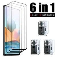6 in 1 tempered glass for xiaomi redmi note 10 pro note 10 5g 10s 10t screen protector camera lens film redmi note 10 pro glass