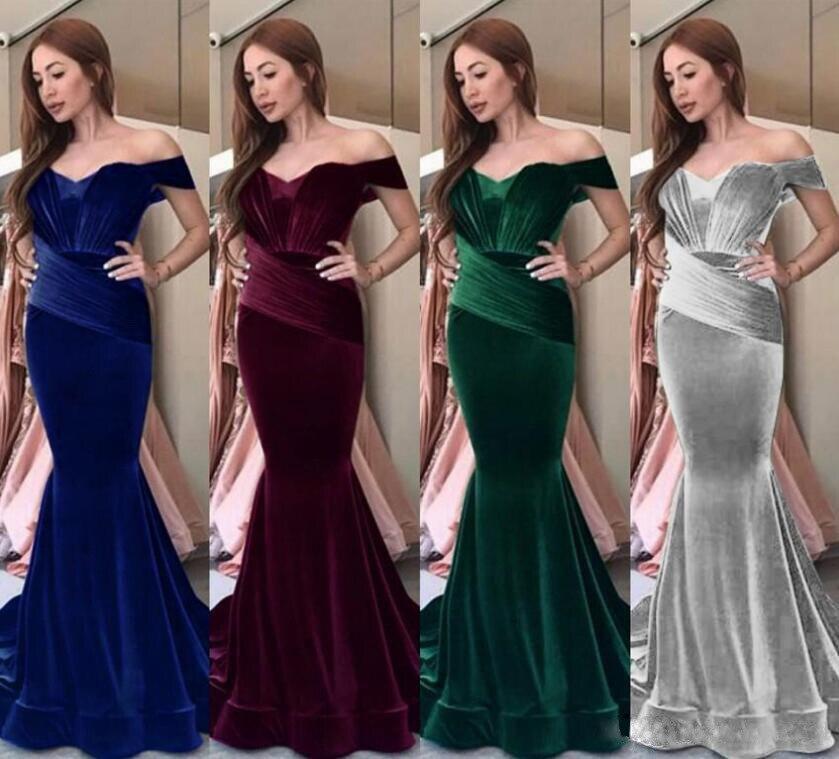 Plus size fishtail vestido longo sexy feminino formal da dama de honra vestidos sereia slash neck borgonha vermelho veludo estiramento bodycon vestido