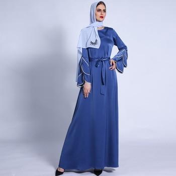Ramadan Eid Silky Beading Cascading Abaya Hijab Muslim Dress female Caftan Turkish Islamic Kaftan Robe Musulman Abaya