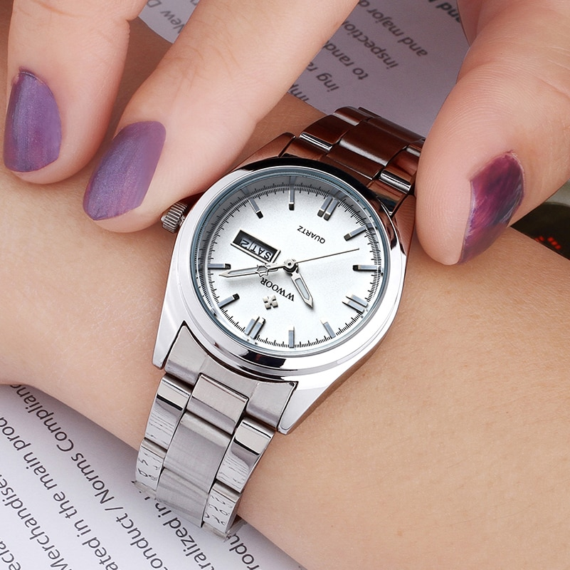 Stainless Steel Women Watches WWOOR Top Luxury Brand Casual Dress Quartz Watches Waterproof Luminous Calendar Clock Reloj Mujer enlarge