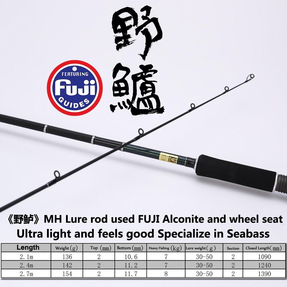 Afulure SeaBass FUJI Lure Rod Fishing Rod Spinning Pole 2.1m/2.4m/2.7m Sea Fishing Long Range Casting SeaBass Pake enlarge