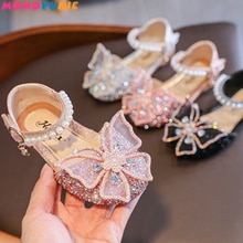 Girls Sequin Lace Bow Kids Shoes Girls Cute Pearl Princess Dance Single Casual Shoe 2021 New Childre