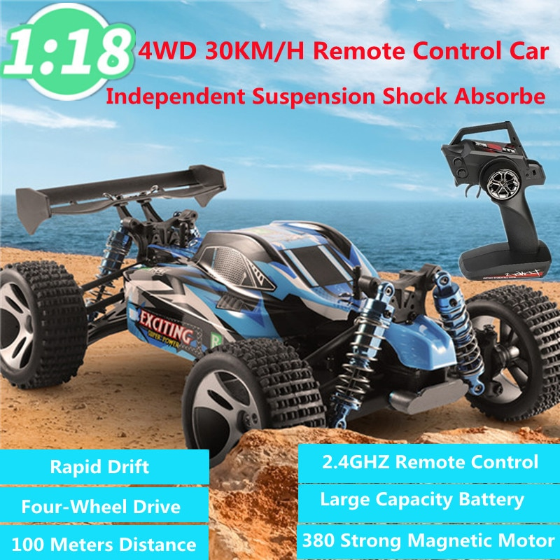 1:18 Full Scale 4WD Climbing RC Car 30KM/H Independent Shockproof 380 Strong Magnetic Motor 100M Drift RC Off-Road Car Kid Gift