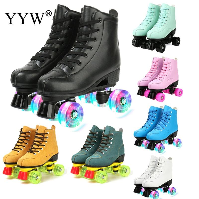 Women 21 Choice Pu Microfiber Roller Skates Skating Shoes Sliding Inline Skates Roller Sneakers Training Scrub Row 4 Wheel