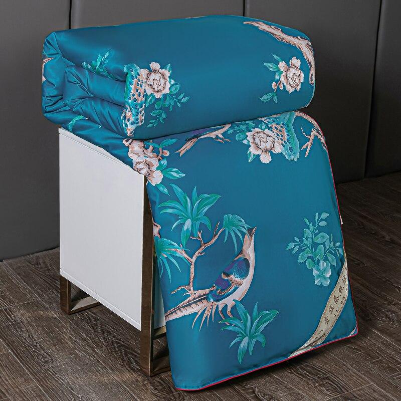 بطانية فاخرة مصنوعة من الحرير الطبيعي 100% للصيف من الجاكارد ألحفة شتوية غنية بالرياح غطاء من القطن لحاف كينج التوأم كامل في الحشو