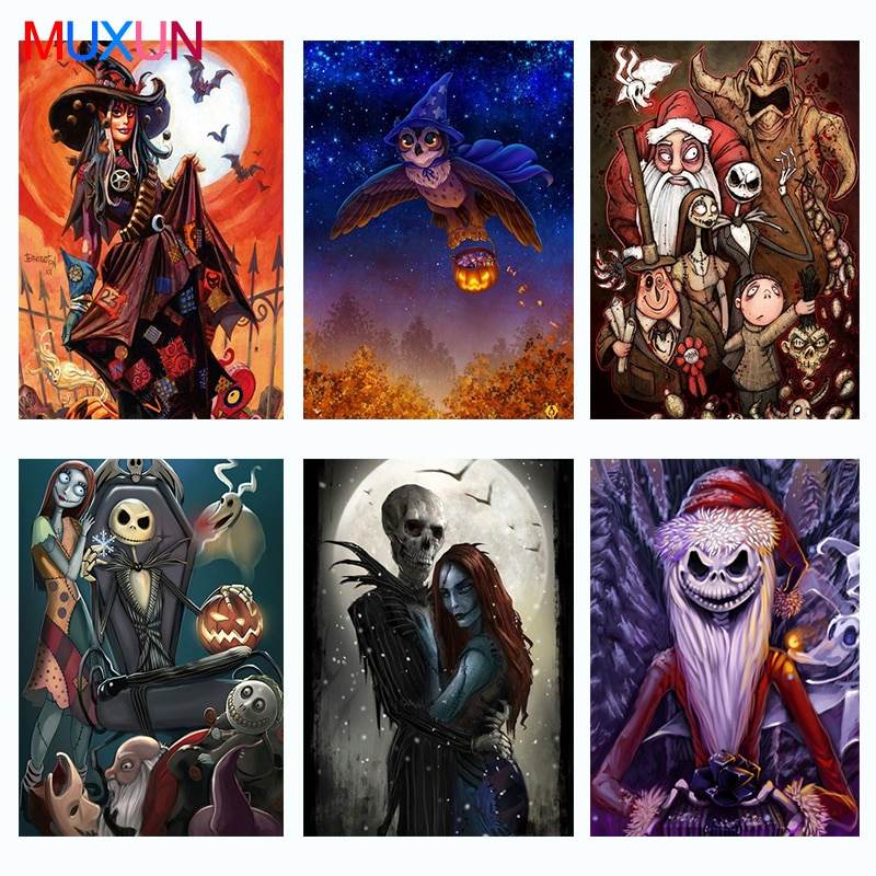 Muxun 5D Diy Halloween Diamond Painting Kit New 3D Diamond Embroidery Cross Stitch Mosaic Art Home Decoration Funny Gift   Lx762