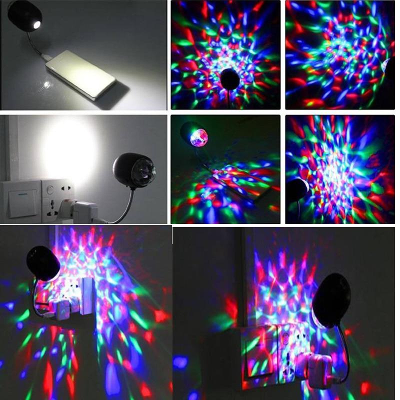 USB Mini RGB уникальный 2 в 1 авто вращение вечеринка DJ дискотека сцена свет +% 2B белый светодиод стол свет магия шар 5V автомобиль свет лазер вспышка