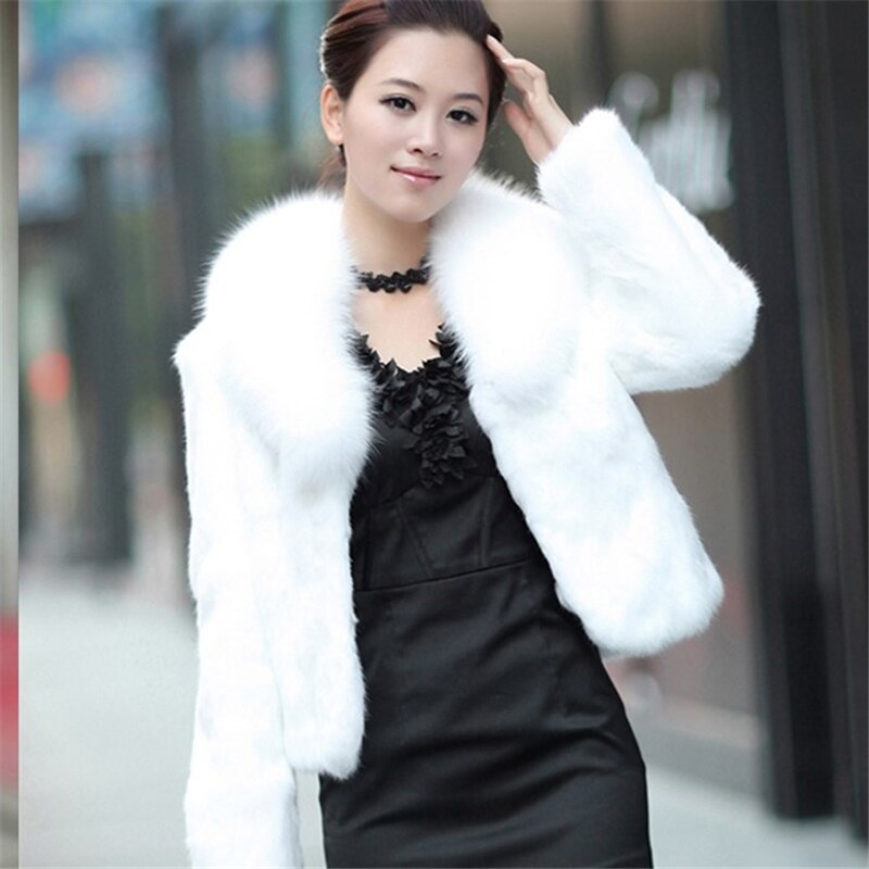 High Quality Faux Rabbit Hair Coat Women's Warm Outerwear Autumn Winter Short Faux Fox Fur Collar Coat Jacket Plus Size Overcoat