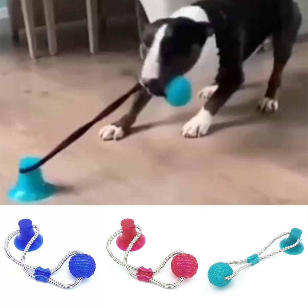 Perro interactivo de succión taza de bola goma termoplástica juguetes elástico cuerdas Limpieza de dientes de perro masticar jugando IQ tratar juguetes para mascota o cachorro suministros