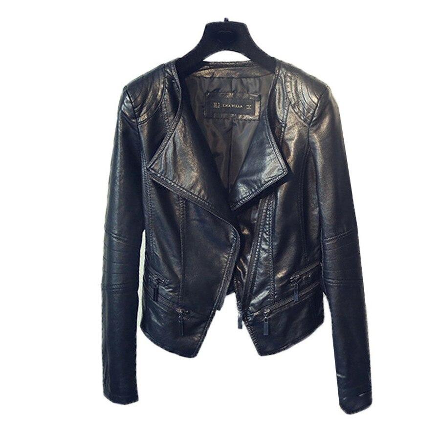 SHEYIJUN Демисезонные женские мотоциклетные кожаные куртки, Женские приталенные черные мотоциклетные и байкерские куртки на молнии с отложным...