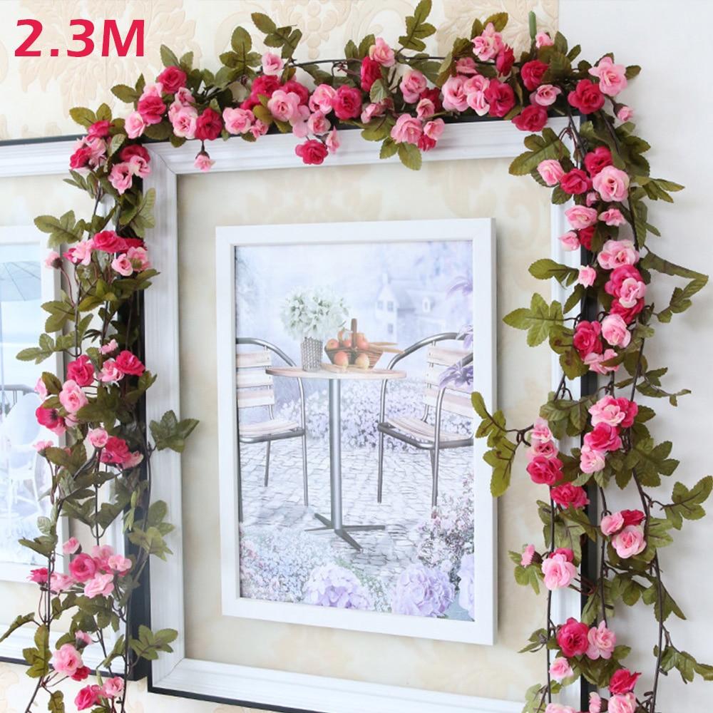 230Cm/ 91 pulgadas de seda Rosa vid decoraciones de boda ratán flor Artificial arco decoración flor con hojas verdes colgando guirnalda de pared