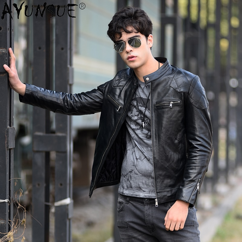 Sheepskin Genuine Leather Jacket Men Motorcycle Coat Winter Jackets for Mens 5XL Autumn Clothes Ropa Hombre LXR858