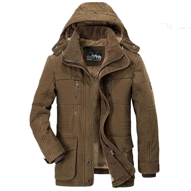 Winter 2021 men's cotton padded jacket medium long Plush thickened middle-aged and old people's cotton padded clothes large size