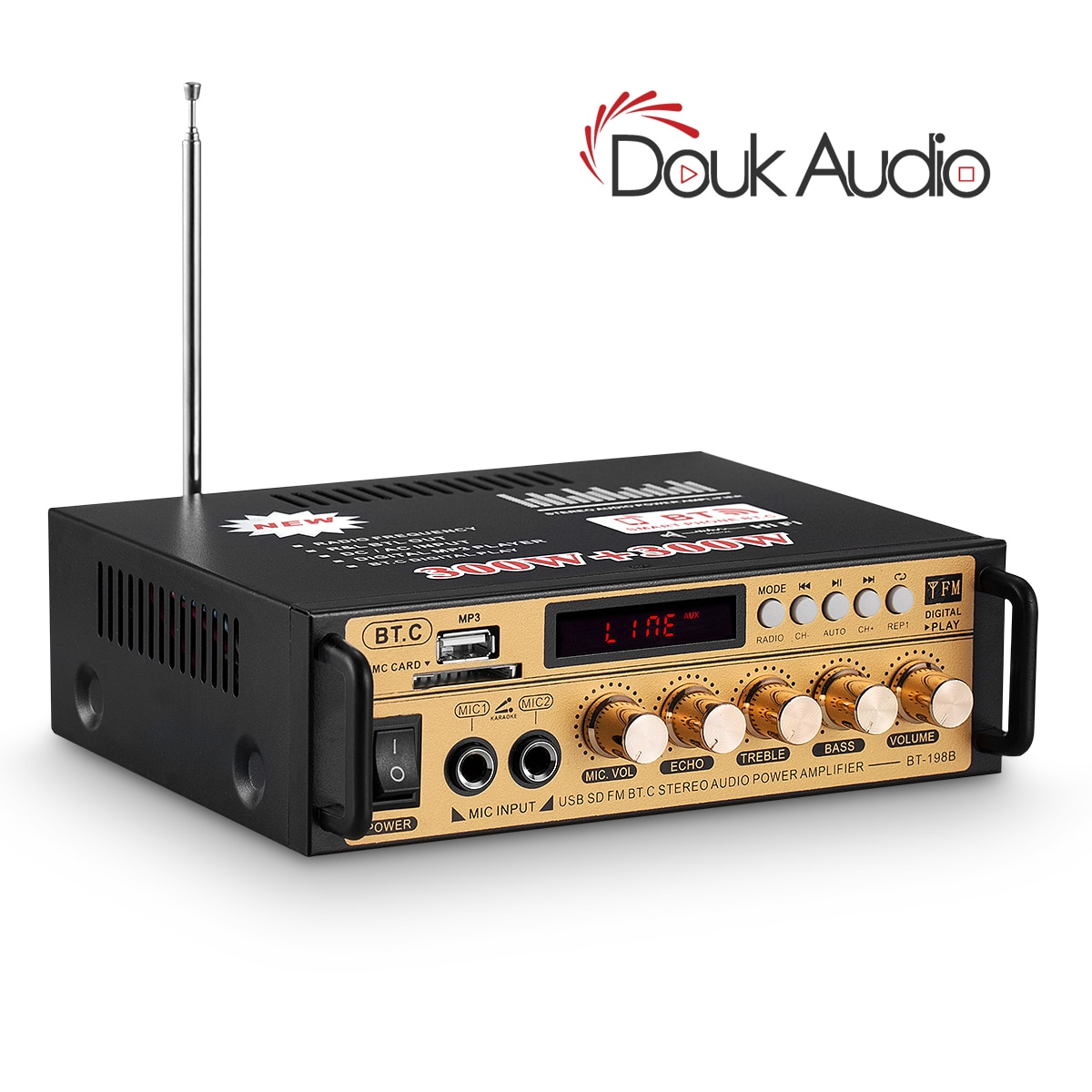 Amplificador Digital de Audio Douk, receptor Bluetooth, Audio estéreo Casero/coche/energía marina, tarjeta SD sin pérdidas/reproductor de música USB