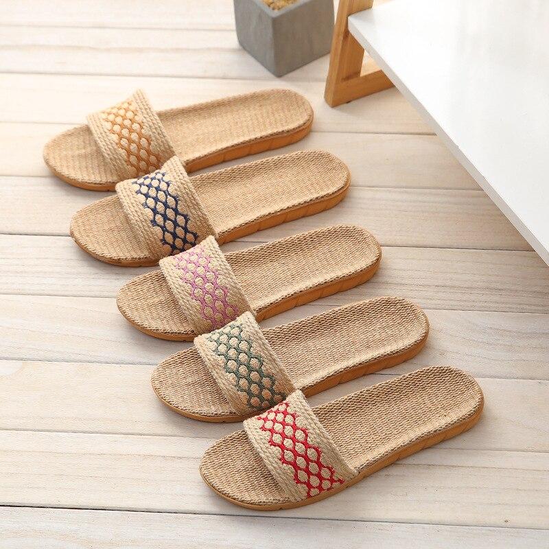 Suihyung Summer Flax Slippers Women Breathable Hemp Belt Flip Flops Lovers All Season Indoor Shoes Beach Slides Ladies Sandals