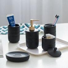 Nordique noir céramique salle de bain accessoires ensemble de lavage hôtel ménage savon distributeur porte-brosse à dents porte-savon mx6171609