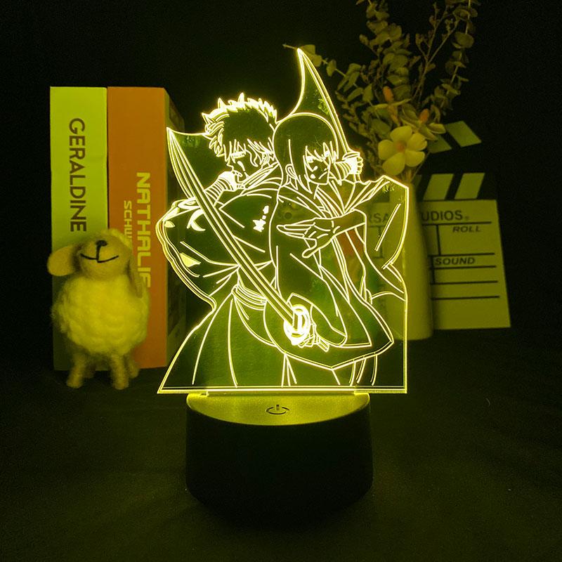 Японская аниме фигурка Gintama 3D светильник Bluetooth Колонка прикроватная лампа романтическая 16 цветов атмосфера для вечерние НКИ Поклонники ман...