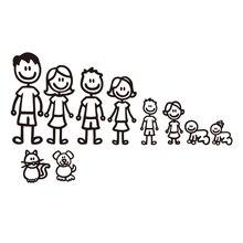 Autocollants de pare-choc en vinyle   Autocollants personnalisés en forme de famille et de voiture, autocollants de style de voiture, imperméable amovible, chien chat bébé sur la voiture