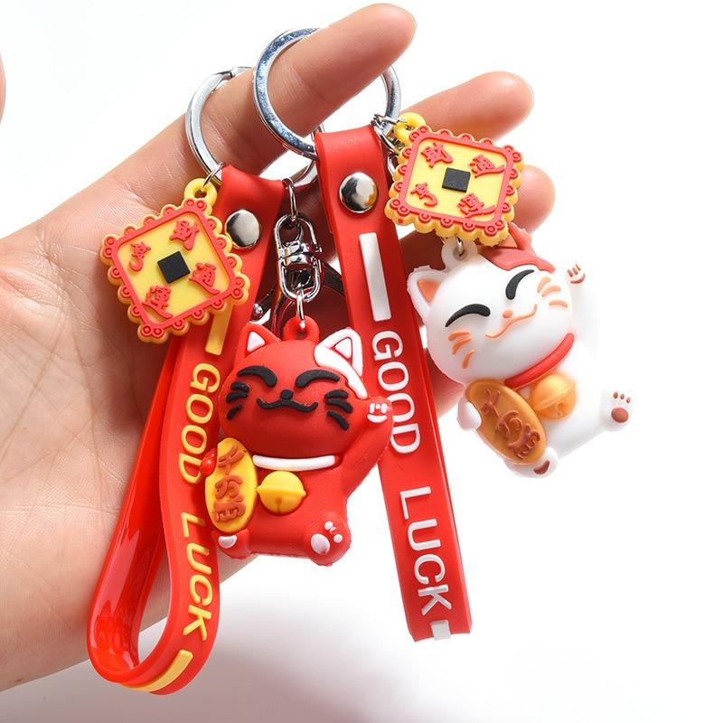 Bonito Vermelho Sorte Maneki Neko Gato Corrente Chave Colhedor DO PVC Boneca Animal Keychain Car Chaveiro Bag Pingente Presente Da Lembrança Porte Clef