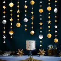 creative 4m star disc garland decoration room party shiny sequin decoration
