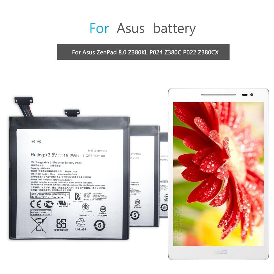 Batería de polímero de litio para tableta Asus ZenPad 8,0 Z380KL P024 Z380C P022 Z380CX batería de repuesto C11P1505 3948mAh