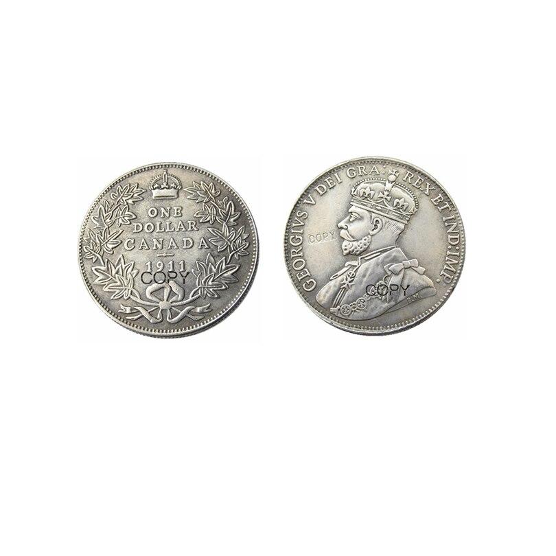 1911 canadá um dólar prata chapeado cópia moeda