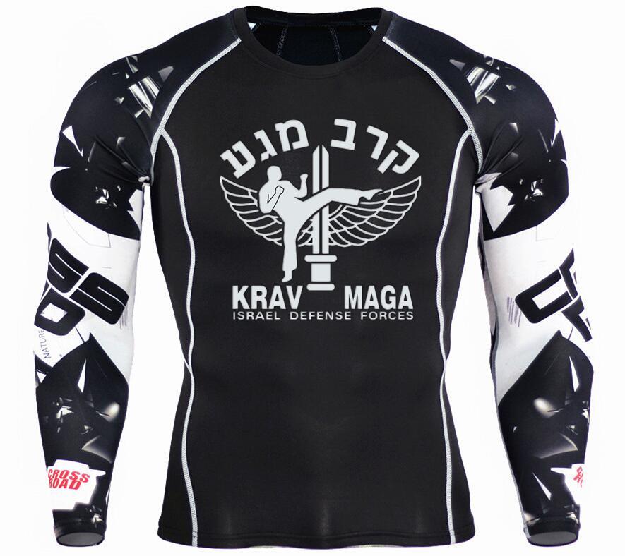 2019 hombres Israel Krav maga camisetas de compresión 3D Teen camisetas de lobo de manga larga Camiseta Fitness hombres MMA camisetas