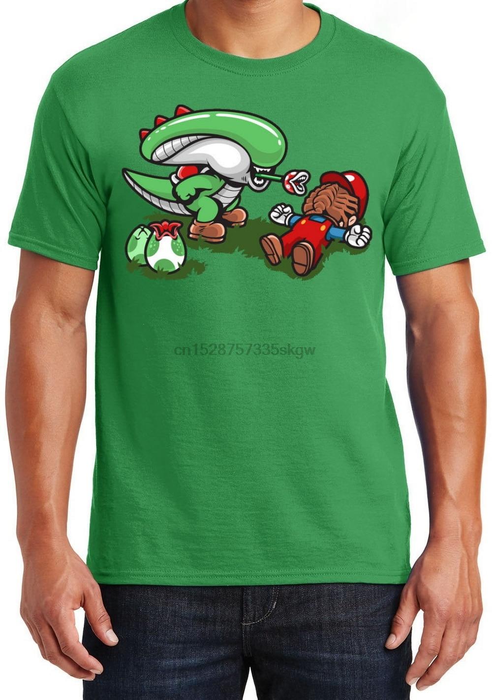 Super Mario Bros Camisetas para hombre Unisex algodón adulto tamaño Xenomorph Alien divertido cuello redondo Camiseta