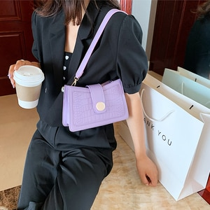 Retro Alligator Pattern Women Messenger Bags Luxury Handbags PU Leather Underarm Bags Female Casual Shoulder Bags Totes 2020 New